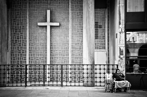 street city travel urban blackandwhite bw woman church monochrome religious nikon europe cross croatia zagreb croazia croacia hrvatska kroatien d90 ilica