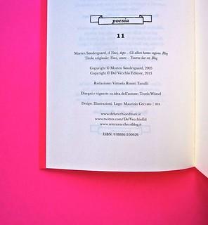 A Vinci, [...], di Morten Søndergaard. Del Vecchio edizioni 2013. Art direction, cover, logo: IFIX. Pagina del colophon: pag. 4 (part.), 2