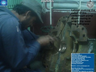 Worker working on centrifugal Pump