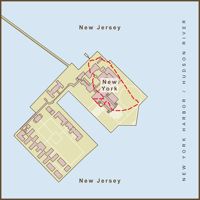 A Map Of The Border Between New York Amp New Jersey On Ellis