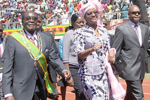 President Robert Mugabe and First Lady Amai attending the 32nd anniversary independence celebrations in the Southern African state of Zimbabwe. The country won independence from British settler-colonialism in 1980. by Pan-African News Wire File Photos
