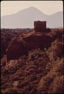 Ancient Indian dwelling seen in early morning light. Hovenweep National Monument, 05/1972.