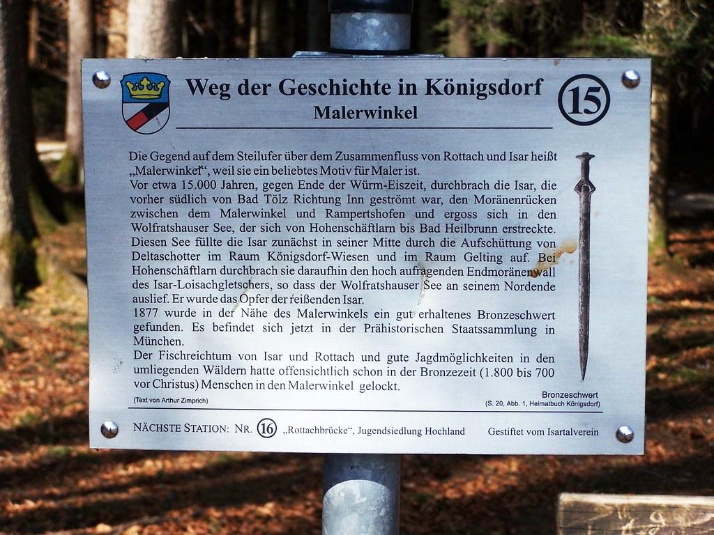 Schild Malerwinkel, Weg der Geschichte in Königsdorf
