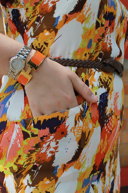Earth Tones Are Easy outfit: Era Plumes dress from Anthropologie, minnetonka moccasins, hermes bangle, braided leather belt, spiky studded headband