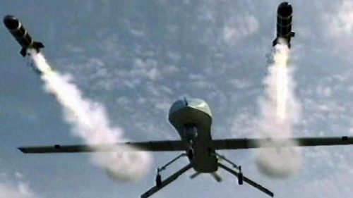 US drone unleashing the hellfire missile. This deadly weapon has killed thousands and is deployed in Africa, the Middle East and Central Asia. Obama has increased its usage which kills civilians. by Pan-African News Wire File Photos