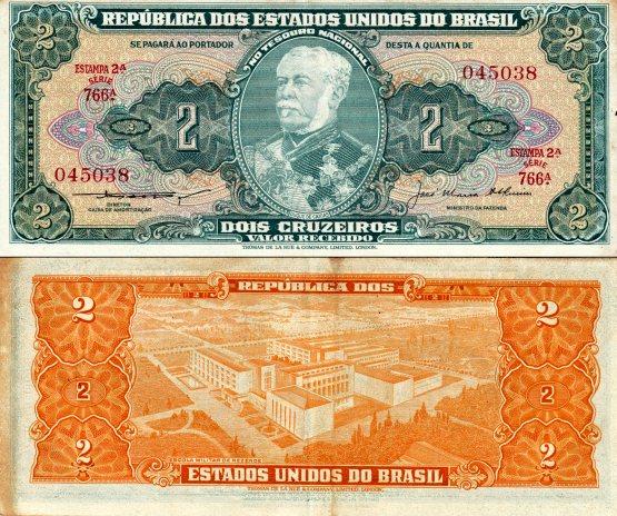 2 Cruzeiros Brazília 1956-58, Pick 157Ab