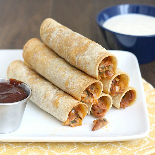 Baked BBQ Pulled Pork Taquitos