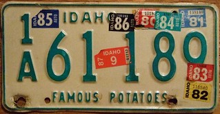 IDAHO 1974-87 ---LICENSE PLATE STICKER MADNESS
