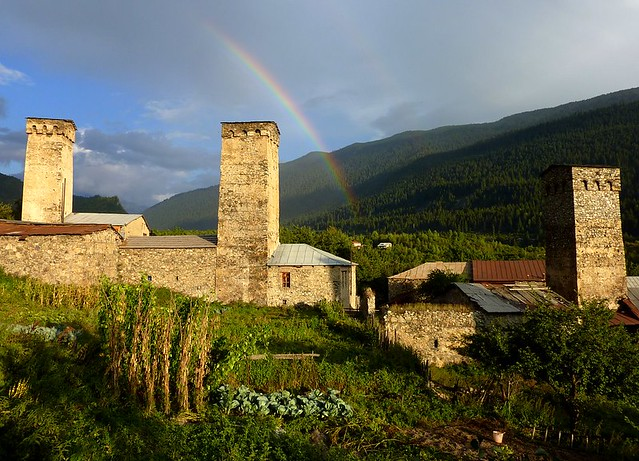 Rainbow over Mestia in Svaneti, Georgia