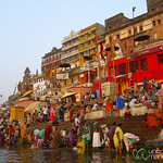 Prayers (Puja) and Bathing in the Ganges at Dawn - Varanasi, India