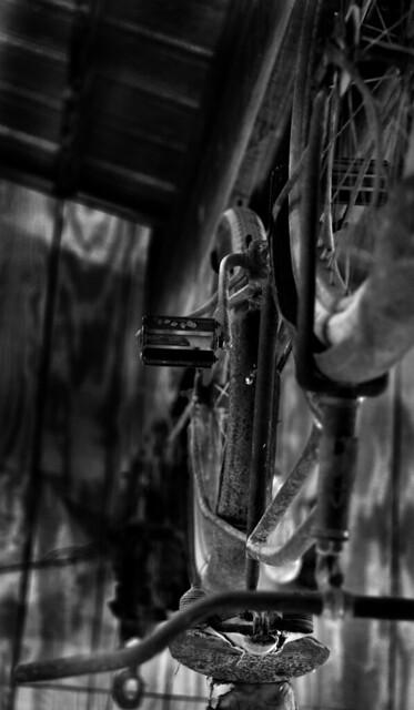 rusty bike bw