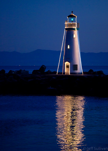 Walton Lighthouse Holiday Reflection at Night