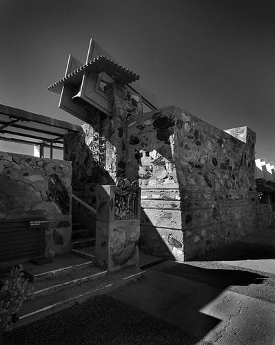 school camp arizona cactus taliesin blackandwhite bw building tower nature water pool phoenix wall architecture stairs canon campus studio landscape eos office tour exterior view desert bell masonry steps perspective structure historic foundation franklloydwright architect taliesinwest scottsdale efs 1022mm rubble winterhome organicarchitecture efs1022mm fllw musicpavilion 50d canoneos50d franklloydwrightfoundation