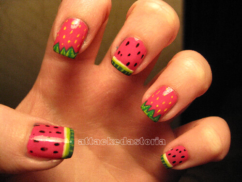 watermelon strawberry nails