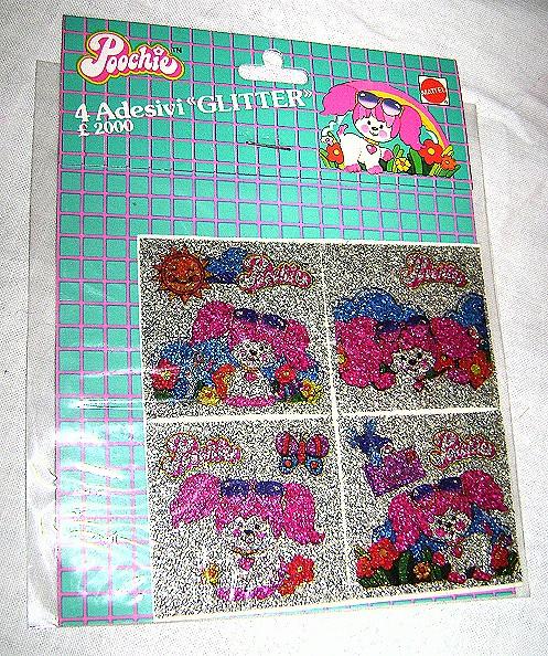 POOCHIE 80's Mattel Italy glitter stickers adesivi