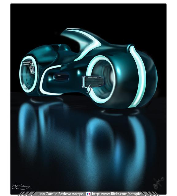 TRON LEGACY Lightbike / Paso 1 / 3ds Max+ ilustración Digital en Photoshop CS5 / Trabajo en Proceso