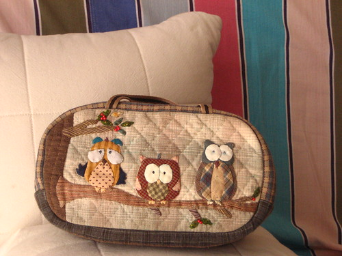 handmade and hand applique Little Owl pouch