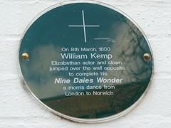 Photo of William Kemp green plaque