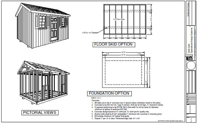 Specialized Design System LLC - G473 10 X 14 X 8 garden shed plans