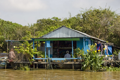 Floating village house Tonle Sap Cambodia 2