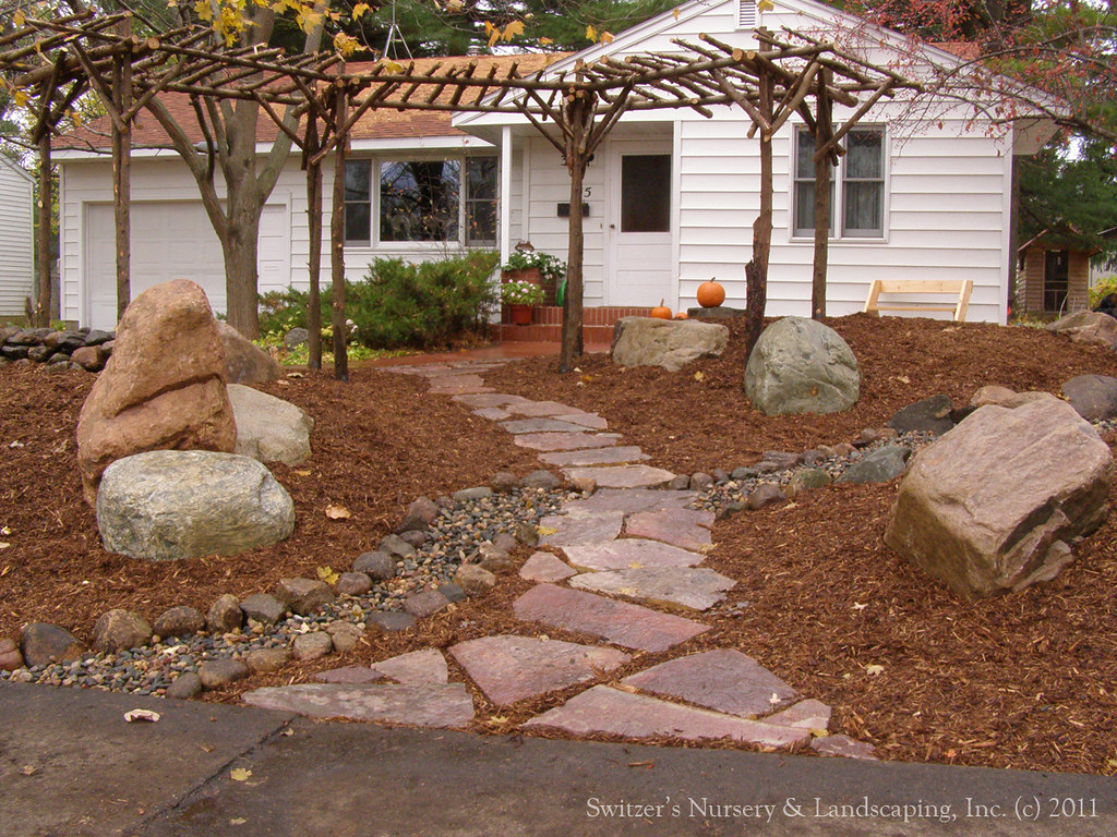 Low Maintenance Front Yard Chilton Stone Walk a photo
