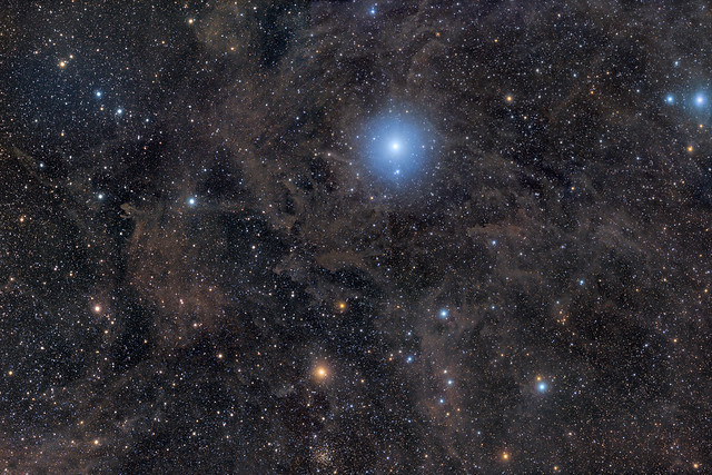 North Celestial Pole, Polaris and surrounding galactic cirrus
