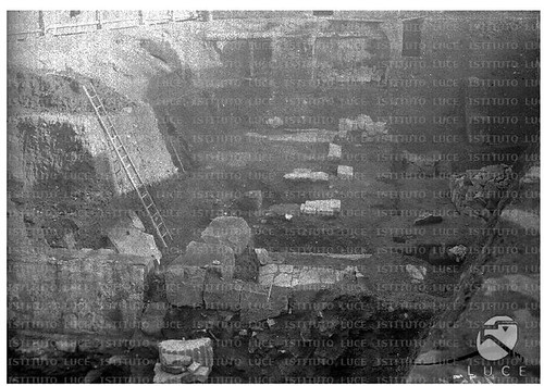 Rome - The Forum of Nerva and Via dell' Impero (20.02.1928): View of Prof. A. M. Colini's excavations in the F. of Nerva and the Medieval Domus, later re-excavated in 1995-97. Archivo Storico LUCE (2010).
