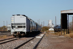 Covered hoppers at a switchyard in Wichita Falls TX