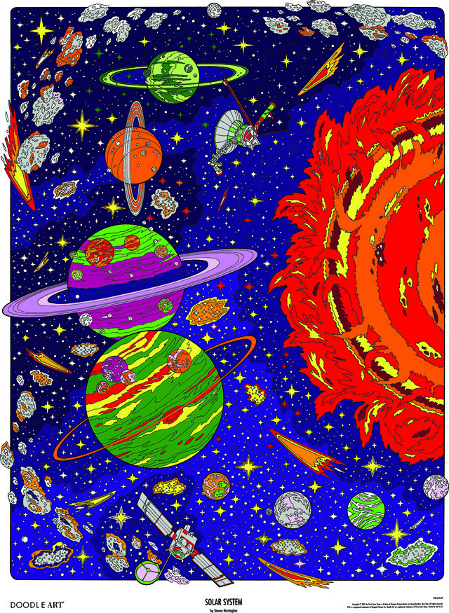 Doodle Art Solar System Coloring Page Poster