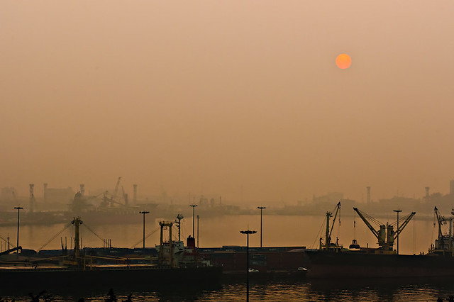 Foggy sunset at the Incheon port