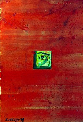 rosso con finestra e uomo che osserva 1988 copia