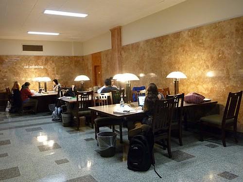 Studying on the 2nd floor west corridor, UW Madison Memorial Library