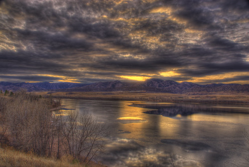 autumn trees sunset sky foothills mountain lake reflection fall ice nature water clouds landscape photo colorado image picture denver rockymountains chatfield hdr littleton photomatix 201012
