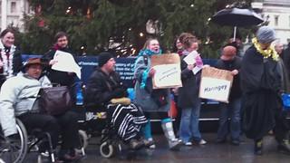 National Day of Protest Against Welfare & Housing Benefit Cuts - Trafalgar Sq (vid 1)