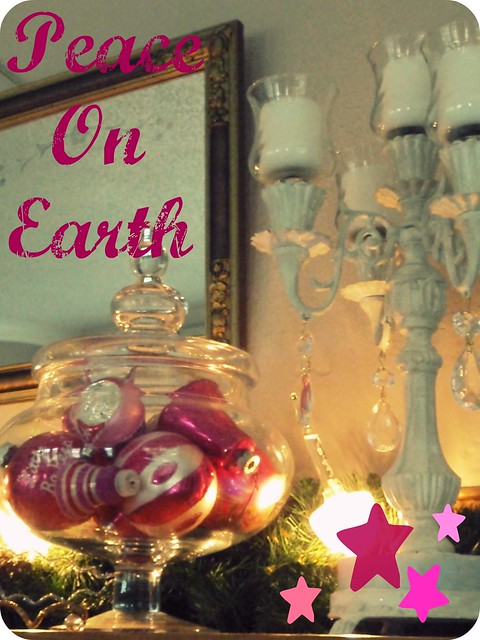 Peace on Earth...vintage pink Christmas ornaments