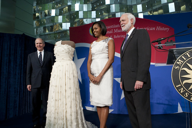 First lady wears white gown by 26-year-old designer