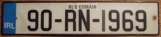 IRELAND, COUNTY ROSCOMMON 1990 ---LICENSE PLATE