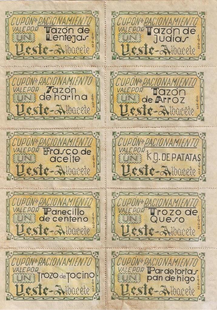 CUPONES DE RACIONAMIENTO YESTE 1942 REVERSO