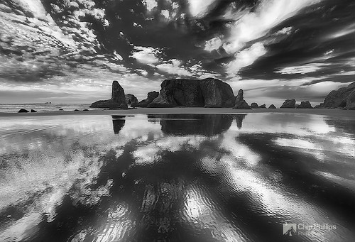 Black and White Cloud Reflections, Bandon Oregon