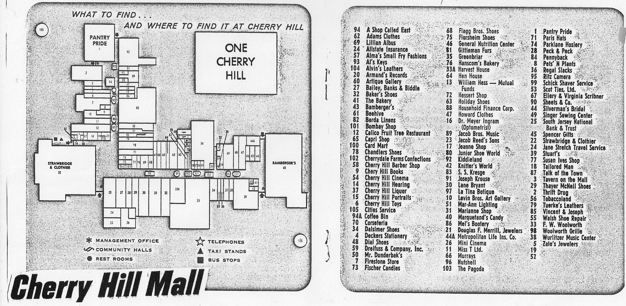 Cherry Hill Mall Map From Brochure