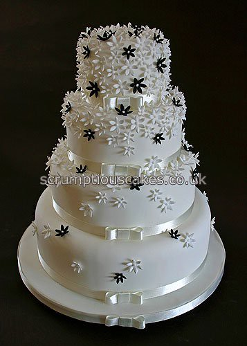Wedding Cake 696 Black White Flowers A 4 6 8 10 inch round cake