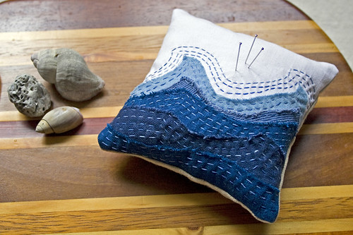 little waves pin cushion