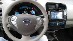 automobile, vehicle, nissan leaf, steering wheel, nissan, land vehicle,