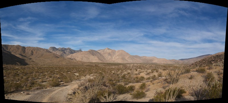 Panorama from Coyote Creek Road looking back toward Sheep and Cougar Canyons