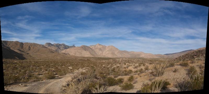 Panorama from Coyote Creek Road looking back toward Sheep and Cougar Canyons