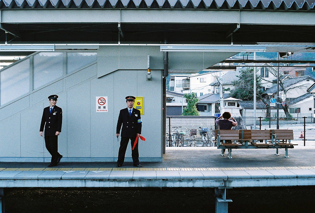 Train conducters in Kyoto