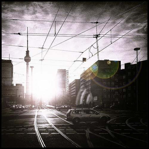 sunset sun berlin tower tv