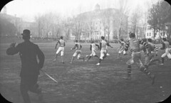 Football game on campus, McGill University, Montreal, QC, about 1900