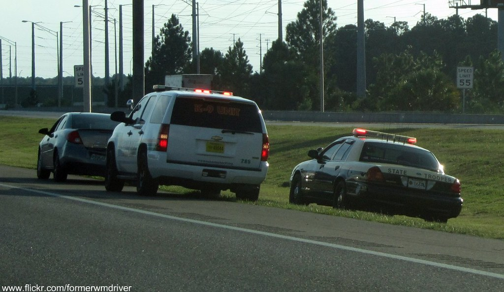 FHP and Orange County Sheriff K-9 at a traffic accident