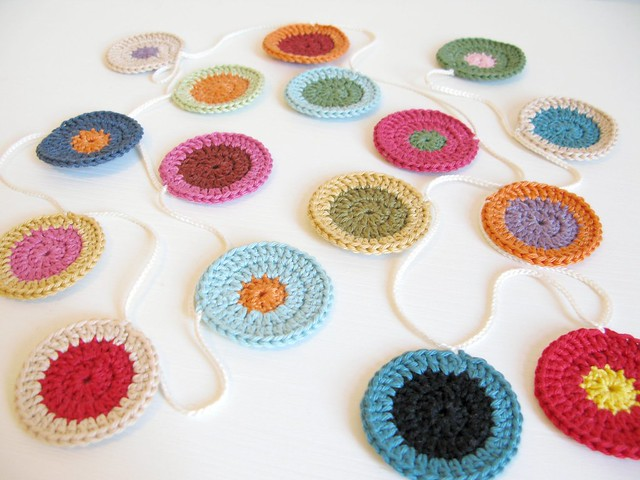 Win this hand colourful crochet Penny garland by Emma Lamb